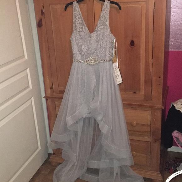 Macys Dresses Brand New Silver Highlow Prom Dress Poshmark